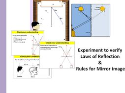 Experiment to verify laws of reflection & Rules for mirror image