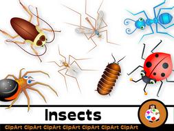 Cartoon Insect Clip Art Set