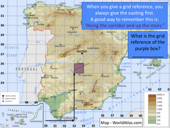 4-Figure grid references in Spain - Exploring Spain - KS2