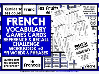 FRENCH VOCABULARY CARDS WITH REFERENCE & RECALL WORKBOOK #3