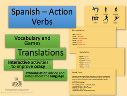 Action Verbs in Spanish - Powerpoint, Games and Flashcards