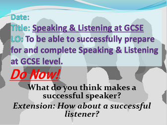 GCSE Speaking & Listening Skills