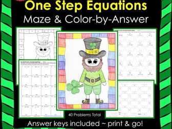 Solving Equations St. Patrick's Day Math One Step Equations (Negs) Maze & Color by Number Bundle