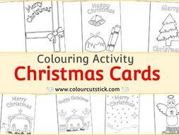 Christmas Card Templates - Colouring Activity