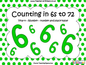 Counting in 6s to 72