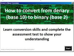 Denary To Binary Conversion Essment By Pdt10 Teaching Resources Tes