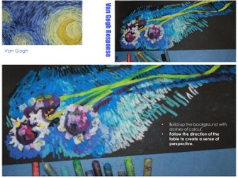 Van Gogh Artist research and response - observational flower study with oil pastel.