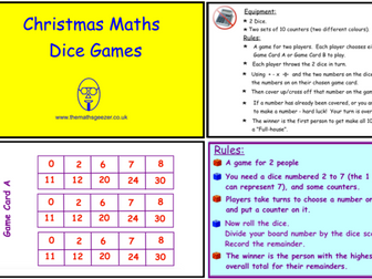Christmas Maths Dice Games (SmartBoard version)