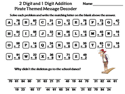 Two Digit and One Digit Addition Game: Pirate Themed Math Message Decoder