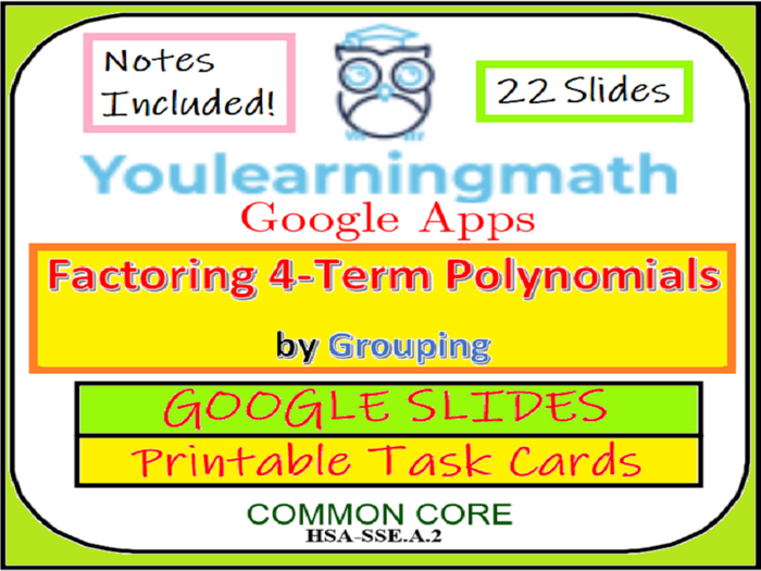 photograph relating to Printable Task Cards titled Factoring 4-Expression Polynomials through Grouping: GOOGLE SLIDES + Printable Activity Playing cards