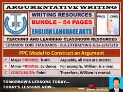 ARGUMENTATIVE WRITING - CLASSROOM RESOURCES - BUNDLE