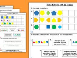 Year 2 Make Patterns with 2D Shapes Spring Block 3 Maths Homework Extension