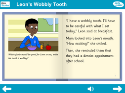 Leon's Wobbly Tooth Interactive Storybook - Early Reader Level - PSHE KS1