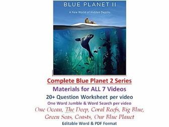 COMPLETE Blue Planet II Video Series Worksheet Wordsearch Jumble Blue Planet 2