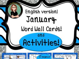 January Word Wall Cards AND Activities! English version