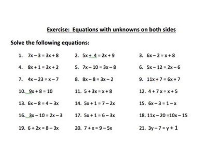 Solving Linear Equations Worksheets PDF | Solving Equations KS3