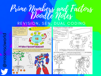 Prime numbers & factors Maths Doodle Note