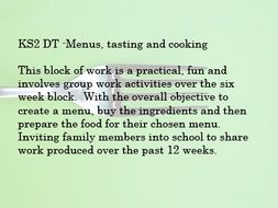 KS2 DT -Menus, tasting and cooking