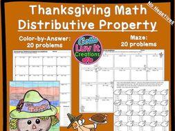 Thanksgiving Turkey Math - Distributive Property No Negatives Maze & Color by Number Bundle