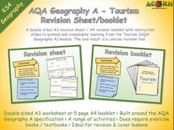 Geography Revision - AQA Geography A - Tourism Revision Sheet / Booklet