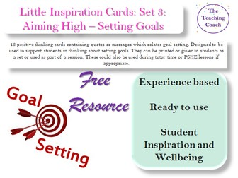 Little Inspiration Cards: Set 3: Setting Goals - Aspirations - Aiming High