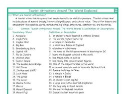 Tourist Attractions Around The World Explanation-Definitions