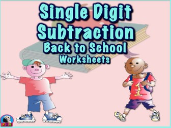 Single Digit Subtraction - Back To School Themed - Horizontal