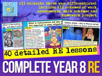 Complete Year 8 RE  (in one download)