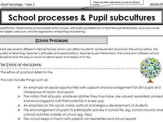 AQA Sociology - Year 1 - Education - Schools processes and pupil subcultures