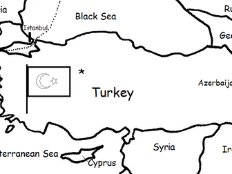 TURKEY - Printable handout with map and flag