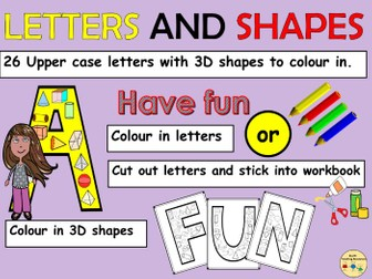 Alphabet Letters Upper Case and 3D Shapes Link Worksheets Cut and Paste Activities