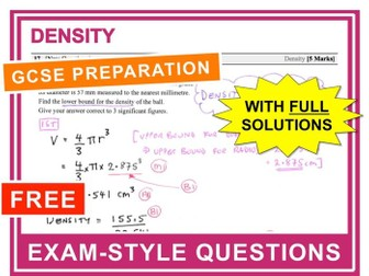 GCSE 9-1 Exam Question Practice (Density)