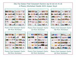 Final Consonant Clusters mp-nd-ld-rd-sk-rk 6 Worksheet Bundle