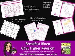 Higher Maths GCSE Revision - Warm Up Breakfast Quiz or Worksheet