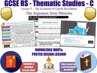 Miracles & The Argument from Miracles  [GCSE RS - Existence of God & Revelation - L5/10] Theme C