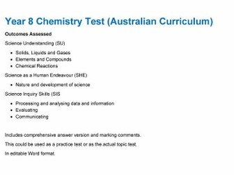 Year 8 Chemistry Test (Australian Curriculum)