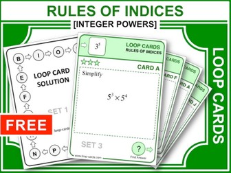 Rules of Indices (Loop Cards)