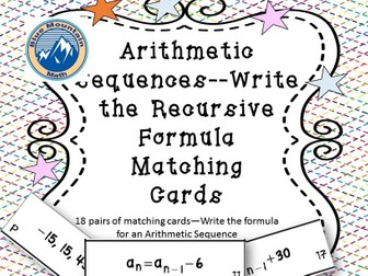Recursive Formulas in Arithmetic Sequence Matching Card Set
