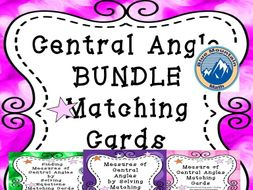 Central Angle Measures Matching Card Bundle