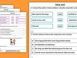 Grammar Year 1 Using 'And' Spring Block 1 Homework Extension