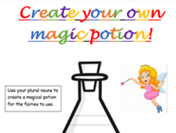Magic potion-singular to plural worksheets differentiated