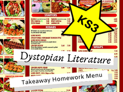 Dystopian Literature KS3 Takeaway Homework Menu
