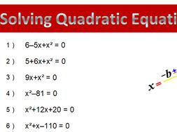 Solving Quadratic Equation Worksheets Using Factoring By