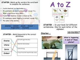 Science starter and plenary activities