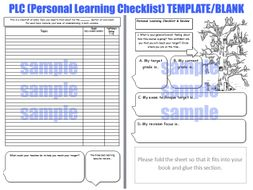 Personal Learning Checklist [PLC] Feedback Worksheet [Target Setting, Exam Prep, Revision, AfL]
