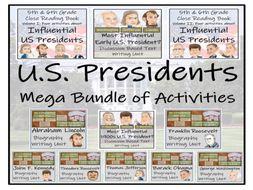 UKS2 History - U.S. Presidents Reading Comprehension & Writing Mega Bundle