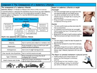 GCSE PE – Edexcel (9-1) – Consequences of a Sedentary Lifestyle - Knowledge Organiser/Revision Mat