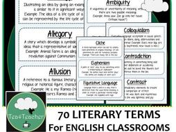 Literary Terms & Vocabulary for English Classrooms x100 Frieze B&W Display