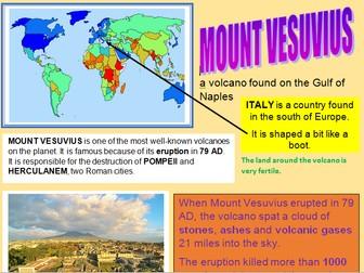 Grades 2-5 Volcanoes of the world set of 9 A4 information leaflets
