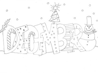 December Colouring Page: Seasons, Celebrations, Months, Time